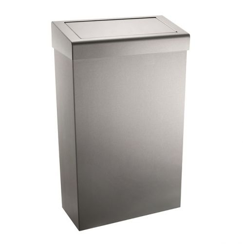 Stainless Waste Bin With Flap Lid | 30 Litre | Free Standing or Wall Mounted  - Image1