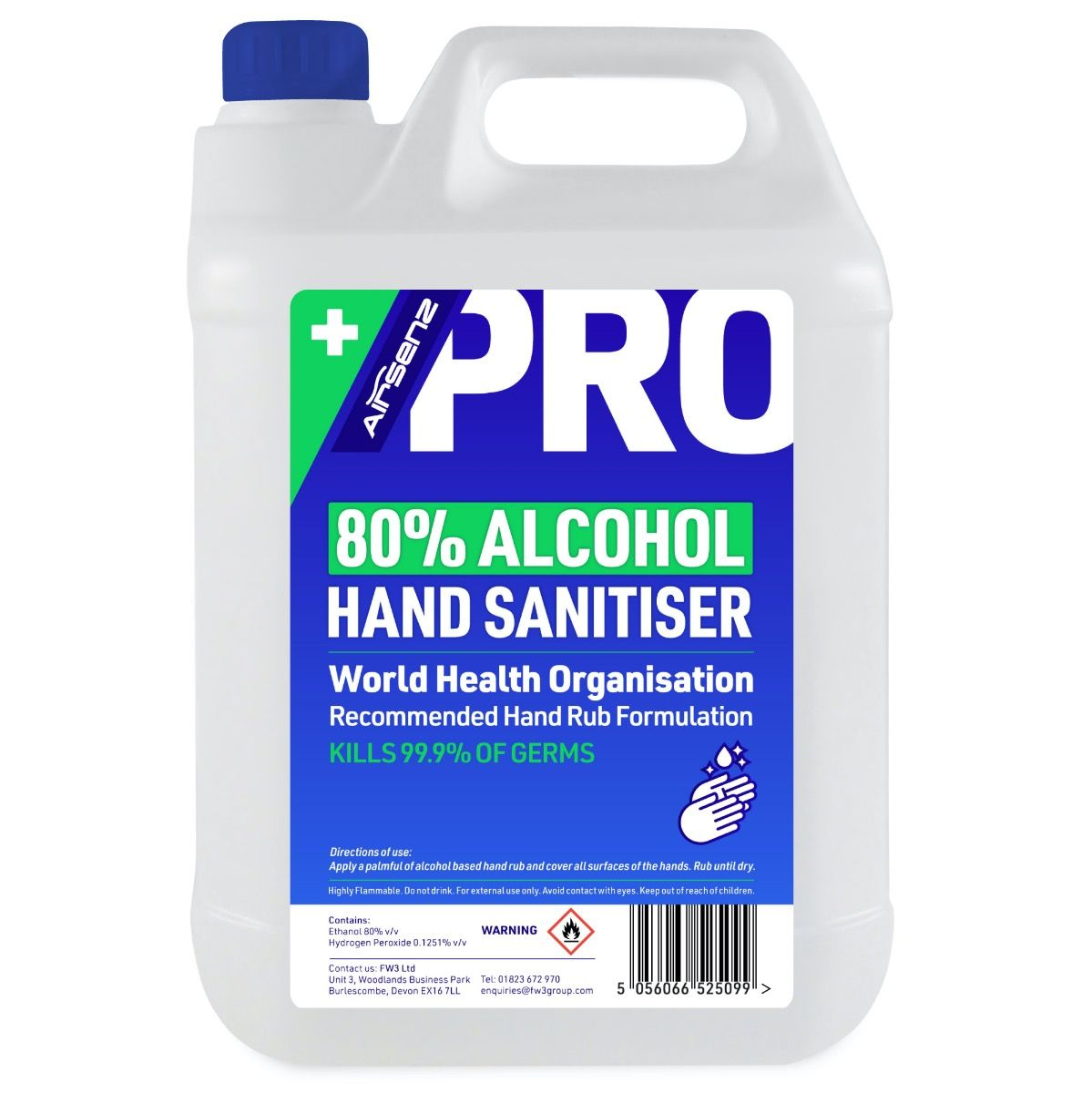 Airsenz 80% Alcohol Hand Sanitiser