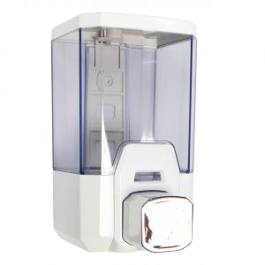 Soap Dispenser | 1 Litre | Chrome & White - Image1
